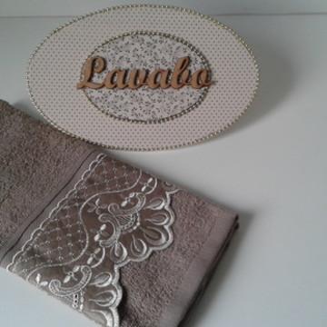 Conjunto De Toalha E Placa Lavabo