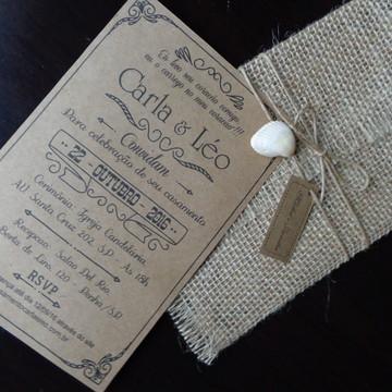 Convite de Juta e kraft casamento na praia