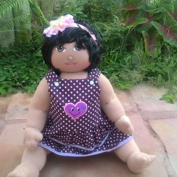 Boneca de pano bebê com cabelo sintético