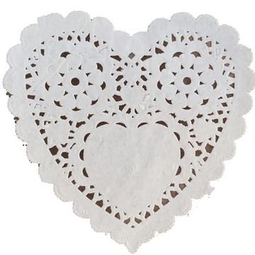 Doilie / Papel rendado coração 12 cm