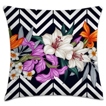 capa de almofada Chevron floral