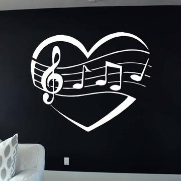 Adesivo coração Notas musicais