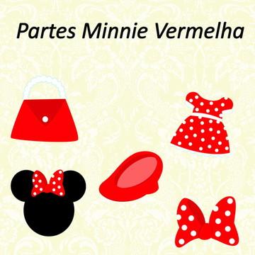 Aplique /Recorte- Partes Minnie Vermelha