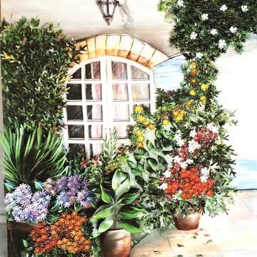 Quadro arte francesa flores jardim
