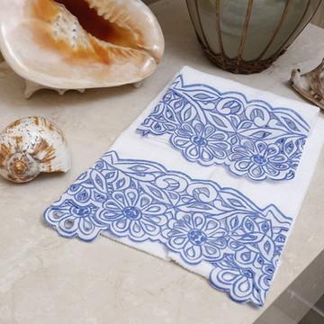 Toalha de Lavabo Richelieu Azul/Branco M/P