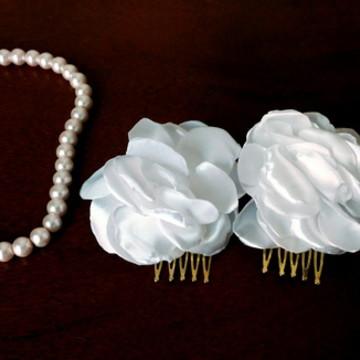 Conjunto de flores para cabelo de noiva