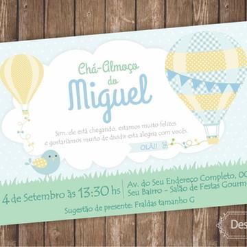 Convite DIGITAL Chá de Fraldas Balões