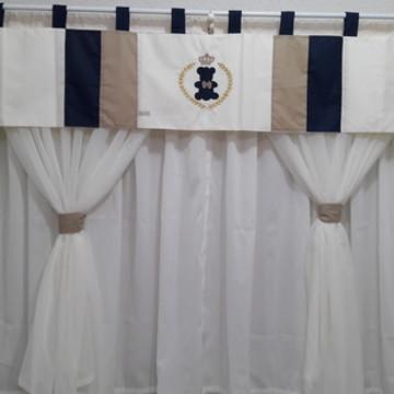 cortina quarto de bebê dourado marinho