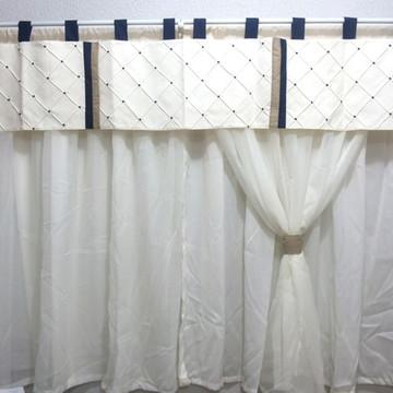 cortina quarto de bebê creme e marinho