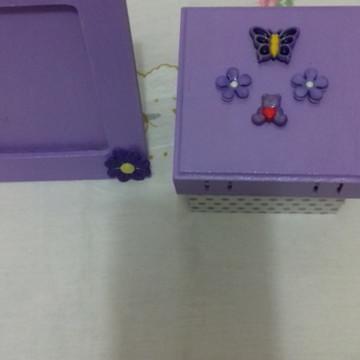 Conjunto de caixa em mdf e porta retrato