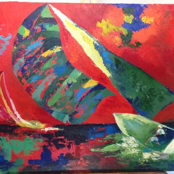 Quadro - barco em vermelho pintado a mão