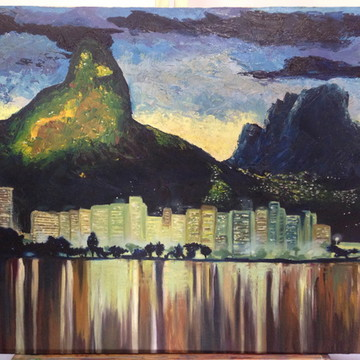 Quadro - Rio de Janeiro a noite pintado a mão