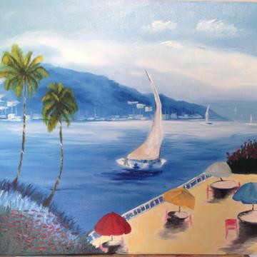 Quadro - paisagem marítima pintado a mão
