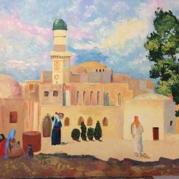 Quadro - Paisagem com mesquita pintado a mão
