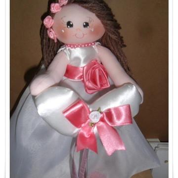 Boneca daminha tema rosa seco