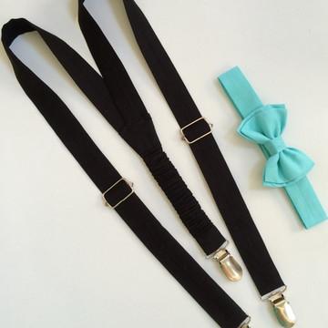Suspensório preto e gravata azul tiffany infantil