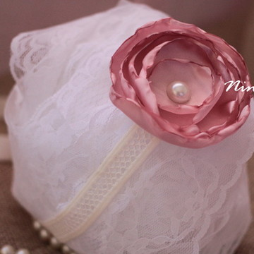 Headband de Flor de Cetim Rosa Chá