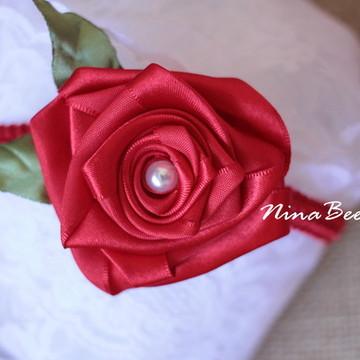 Headband Rosa de Cetim Vermelha