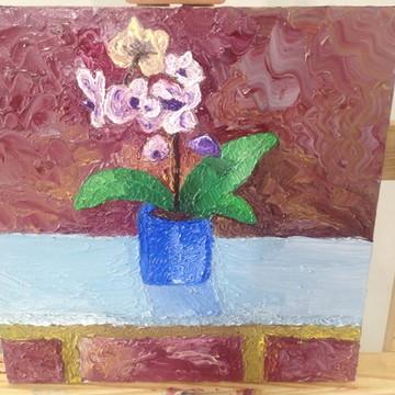 Quadro - Vaso com flor pintado a mão