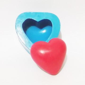 Coração P - molde de silicone