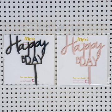 Topo de bolo Happy Bday - 1 unidade