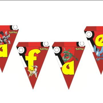 Letra Bandeirola Pokemon Varal Decoracao Festa Aniversario