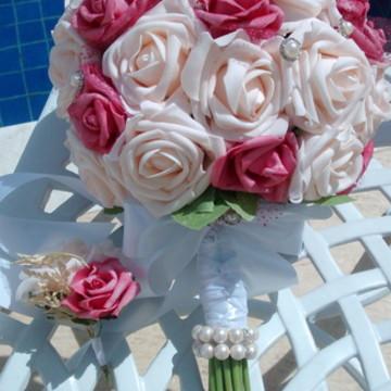 Bouquet rosê & Pink & lapela noivo