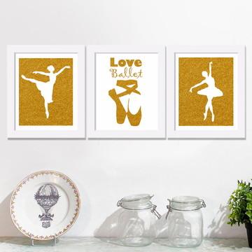 trio de quadros love ballet menina
