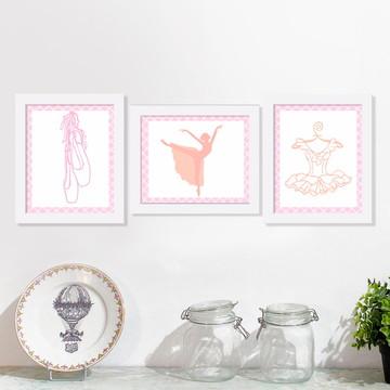 trio de quadros love ballet menina rosa