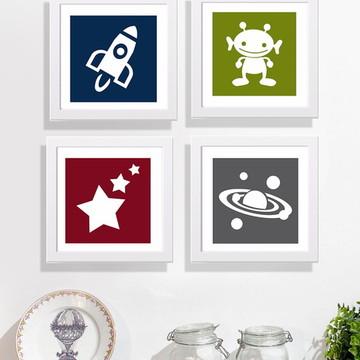 Conjunto quadros infantis tema espaço