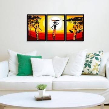 Trio de quadros tema paisagem africana