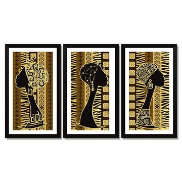 Trio De Quadros Tema África, Mulheres