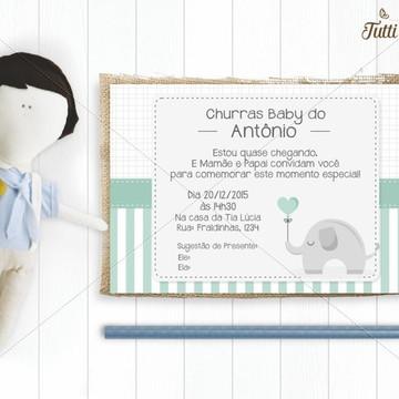 Convite Chá de Bebê Elefante Digital