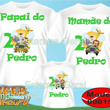 Kit Camisetas Aniversario Safari c/3