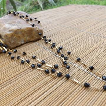Colar de cristais preto