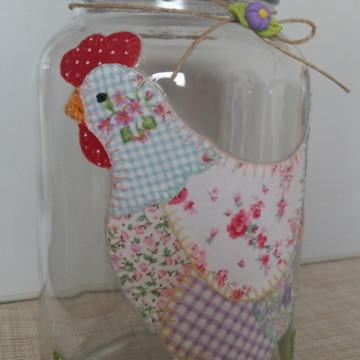 Pote patchwork galinha tecido