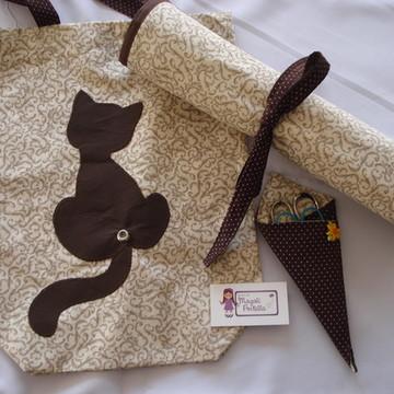 Kit para tricô com porta tesoura