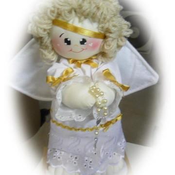 Anjinho boneco de pano para batizado