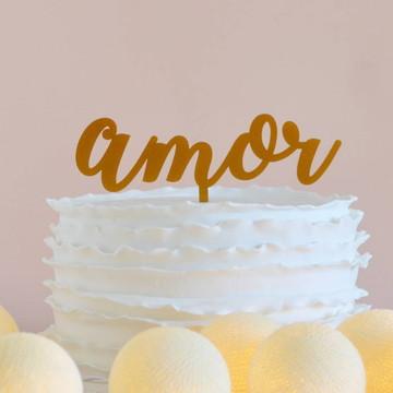 Topo de bolo Amor