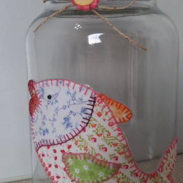 Pote peixe patchwork tecido