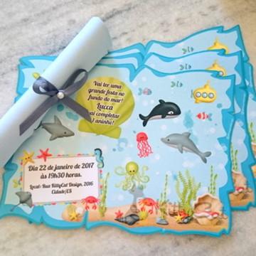 Convite pergaminho fundo do mar