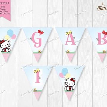 Bandeirolas Hello Kitty Arte Digital