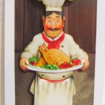 Quadro arte francesa cozinheiro frango