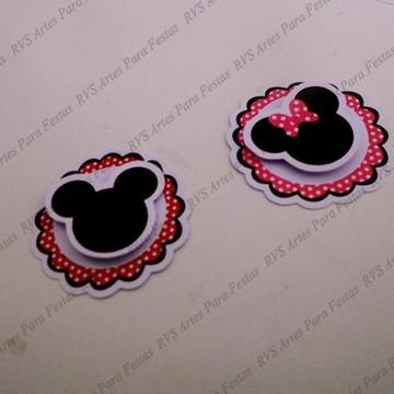 Aplique em 3D - Tema Mickey e Minnie