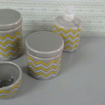 Kit porcelana cinza com amarelo