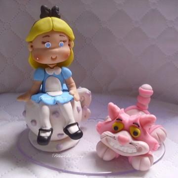 Topo de bolo Alice com o gato