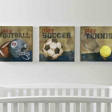 trio telas esportes- quadros - decoração