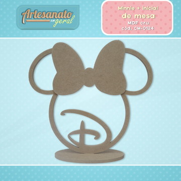 Minnie centro de mesa mdf cru personalizado com inicial