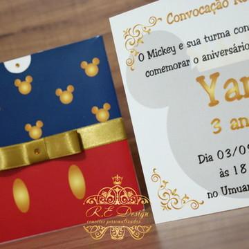 Convite Infantil Mickey com Envelope