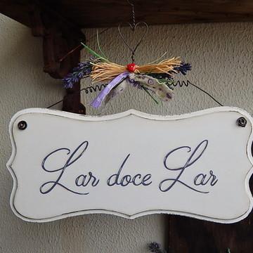 Placa Lar doce lar - Lavanda